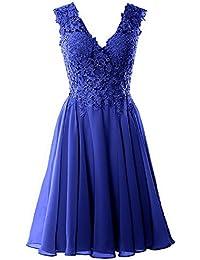 Dresses Onlie Damen Abendkleider Elegant Kurz Spitze Brautjungfernkleider V-Ausschnitt  Chiffon Ballkleider… ca448e14e8