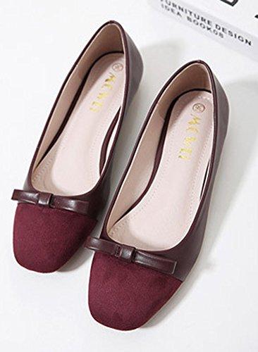 Aisun Femme Confort Femme Enceinte Chaussures Plates Ballerines Rouge Vineux