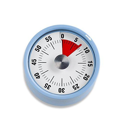 ADE Mechanischer Küchentimer TD 1705. Klassischer Kurzzeitmesser mit Rundskala zum Aufziehen. Durchmesser 6 cm. Akustisches Signal nach Zeitablauf. Zuverlässige Eieruhr. Farbe: Blau