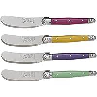 Laguiole Jean Dubost 97455 - Estuche con 4 cuchillos para untar (mango de plástico ABS), multicolor