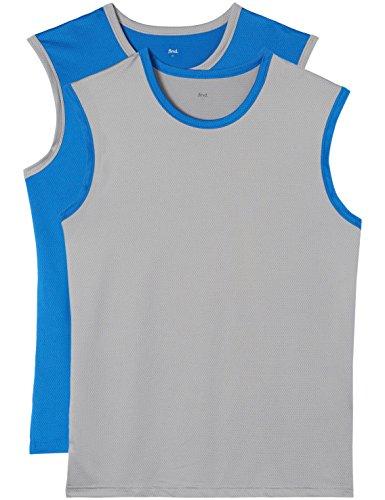 find. Sporttop Herren aus atmungsaktivem Mesh, mit farblich abgesetztem Saum, 2er Pack, Mehrfarbig (Worker Blue X1, Mid Grey X1), 50 (Herstellergröße: Medium) -