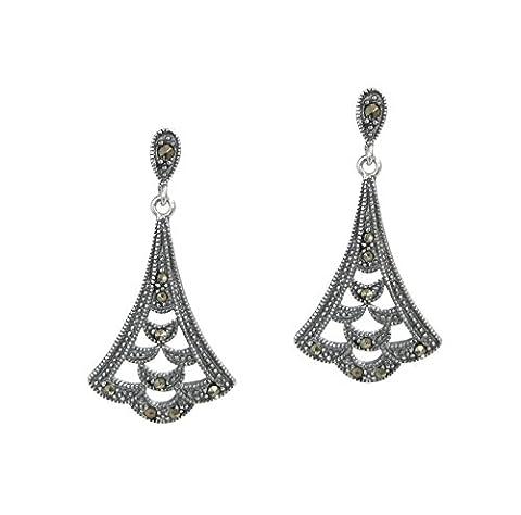 Queenberry Sterling Silver Flower Leaf Chandelier Dangle Earrings with Marcasit