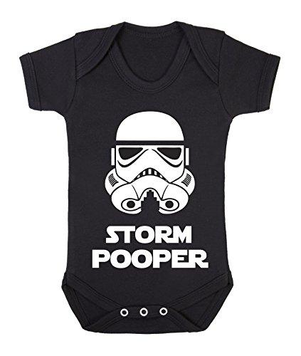 Storm Pooper (Full White helmet on black) Cute funny Star Wars Babygrow bodysuit