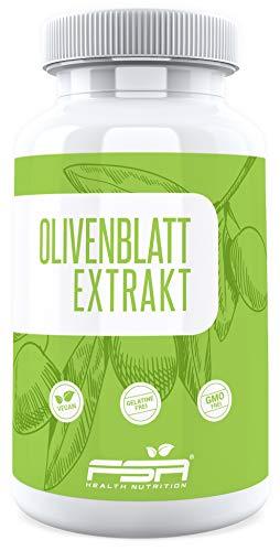 Olivenblatt Extrakt 90 Kapseln, 500 mg pro Kapsel, 20{344cb674af98fd3a9340e532a9a2986e5ddb186b582d5433053d99b568cfd3ee} Oleuropein, Vegan - Made in Germany - FSA Nutrition