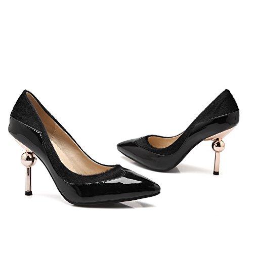 VogueZone009 Femme Verni Tire Fermeture D'Orteil Pointu à Talon Haut Couleur Unie Chaussures Légeres Noir