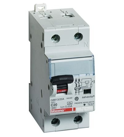 Interruttore automatico differenziale 6A Salvavita 1P+N 0.03A 4,5kA Curva C