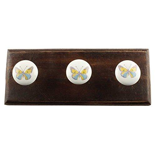 indianshelf handgefertigt Dekorative Artistic gelb Schmetterling Holz Vintage Utility Wandhaken Schlüssel Halter Handtücher Zubehör Badezimmer Kleiderbügel Standard mehrfarbig (Standard-schlüssel-halter)
