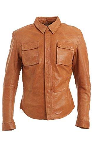 Slim Fit Vintage- Herren -Bräunen-Leder -Jeans Trucker Shirt Biker Jacket 4XL