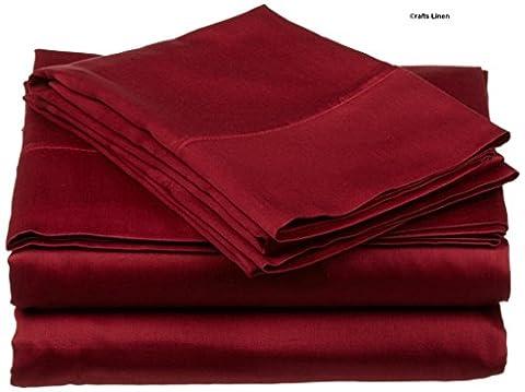Crafts Linen Egyptian Cotton 500-Thread-Count Sateen 3 PCs Duvet Set ( 1 Duvet Cover & 2 Pillow Case) Double Burgundy