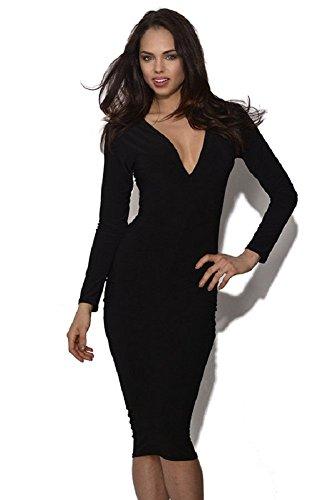 BOMOVO Damen Fashion VAusschnitten Elegant Celebrity Etuikleid Business  Party Cocktail Kleid Bleistiftkleid Schwarz
