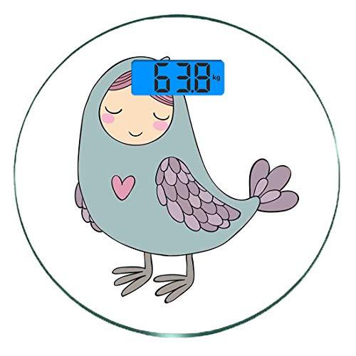 Digitale Präzisionswaage für das Körpergewicht Runde Russland Ultra dünne ausgeglichenes Glas-Badezimmerwaage-genaue Gewichts-Maße,Russische Folklore und Mythologie Childish Sirin Vogel Charakter mit