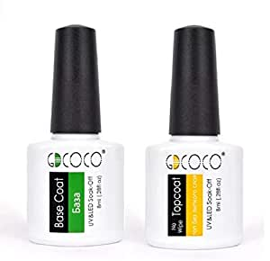 GDCOCO Gel Nail Polish No Wipe Top And Base Coat Combo, Clear, 8 ml.