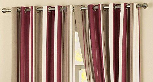 Perfecthome Textiles Claret Red Beige Cream Lightweight Faux Silk Striped Lined Eyelet Ring Top Curtains 46″ x 72″ (117 cm Wide x 183 cm Drop)