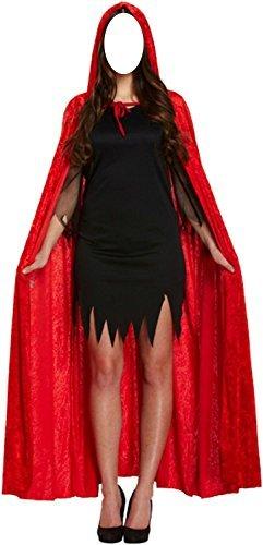 Adult 132cm Velvet Hooded Devil Vampire Cape Cloak Halloween Fancy Dress Outfit (Red)