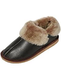 Schuhe Aus Lammfell Hausschuhe Aus Echtem Leder Hausschuhe Schuhe Houseshoes Shoes Hüttenschuhe Pantoffeln Sehr Warm Gr.36-48 (39, Marine)