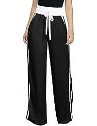 Fräulein Fox Mujeres Cintura Alta Pantalón con Vendaje Moda Rayas Costura Pantalones  Casual Suelto Pierna Ancha dd1e57d4da89