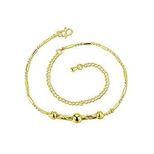 BeyDoDo Fußschmuck Vergoldet Damen Fußkette Bead-Kette Bead-Kette 20+10CM Sandstrand Fussketten