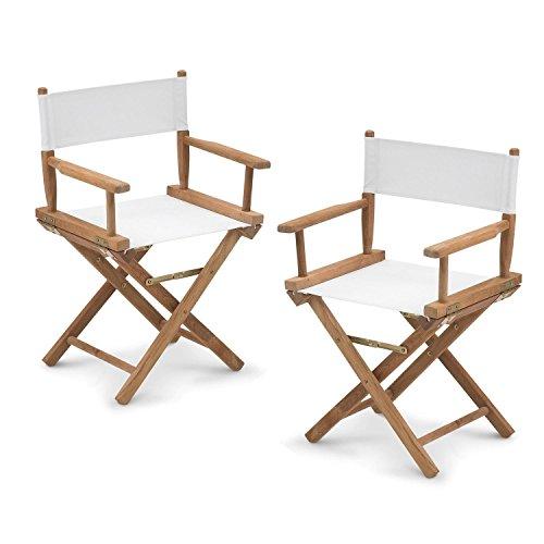 Skagerak Director's Regiestuhl Set, weiß Gestell teak mit SunTexture 2 Stück