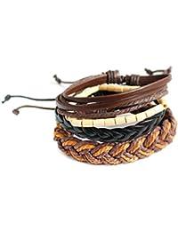 c76b91beb3d2 Uzinb Capas múltiples Perlas de Cuero Muchachas de Las Mujeres de los  brazaletes étnico Pulsera de