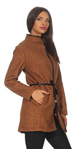 Mississhop 286 Damen eleganter Mantel Cardigan Trenchcoat mit Gürtel in Leder Optik Stehkragen Coat für die Übergangszeit Mocca