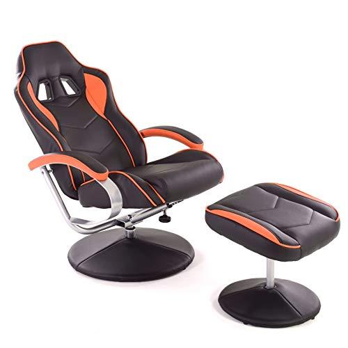 MACOShopde by MACO Möbel Racing TV Sessel mit Hocker aus Kunstleder in schwarz-orange ergonomisch geformt kippbar und 360° drehbar