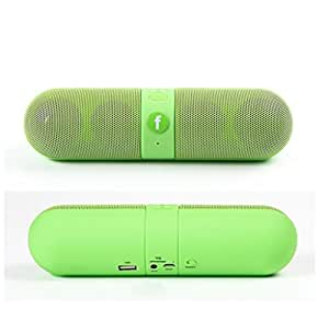 Jiyanshi Mini Bluetooth Multimedia Capsule Speaker TF Card | MP3 Player | Portable Device | Handsfree | Mic | Stereo / Wireless Speaker System (Green) With SD Card / Pen Drive Compatible With Micromax Bolt A62