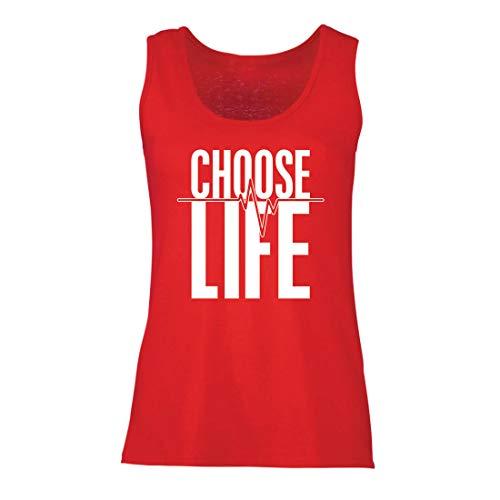 lepni.me Damen Tank-Top Wählen Sie das Leben Herzschlag, Anti-Abtreibung politischen Protest, Christian Zitat (XX-Large Rot Mehrfarben)