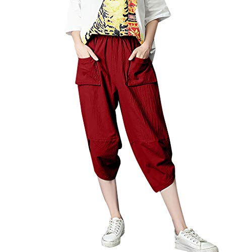 WOZOW Haremshose Hosen Damen Solid Capri Irregular Hem Lose Loose Bequem High Waist Elastisch Elastic Band Cool Street Style Casual Midi Trousers (M,Red)