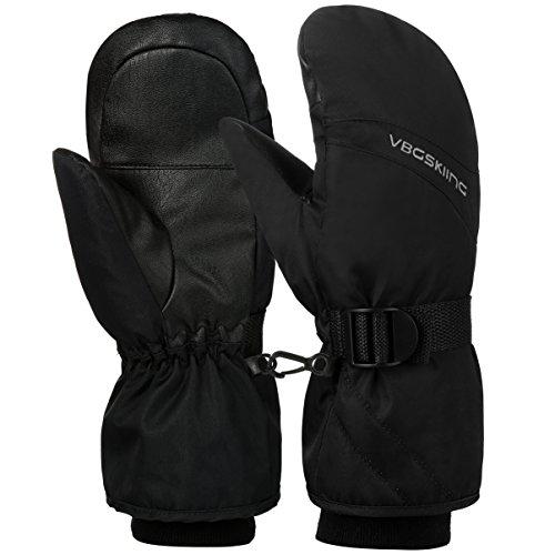 Vbiger Skihandschuhe Schnee Handschuhe Warm Winter Handschuhe Designed für Skifahren Snowboarden Schneebälle Wasserdicht Winddicht Tough Baumwolle Schicht passt für Herren und Damen, Schwarz, M