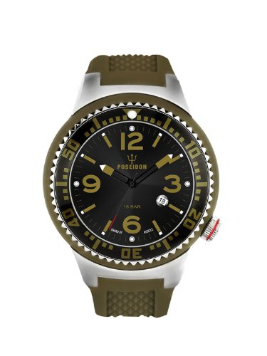 Poseidon-Kienzle - K2093013033-00399 - Montre Mixte - Quartz Analogique - Cadran Gris - Bracelet Silicone Vert