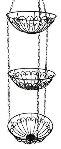 khevga Obstkorb hängend Hänge-Regal Hänge-Etagere Höhe individuell einstellbar - die Küchenampel zum Hängen im Landhaus-Stil -