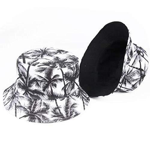 ZSAIMD Womens New Unisex Fashion Sommer Reversible Black White Coconut Tree Gedruckt Fisherman Caps Bucket Hats Männer Sonnenhut Panama Hat Beach Summer (Color : Black)