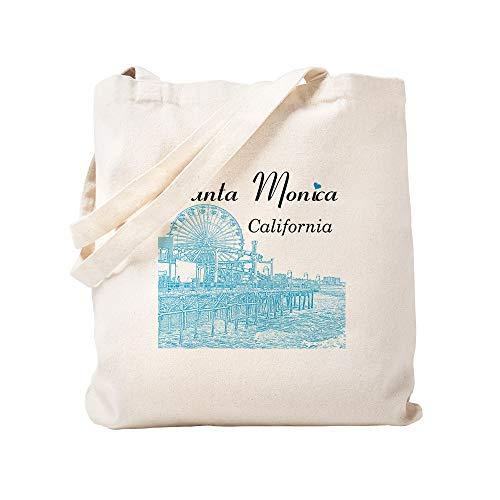 CafePress Santa Monica Einkaufstasche, Leinen, naturfarben - Stoff Santa Monica