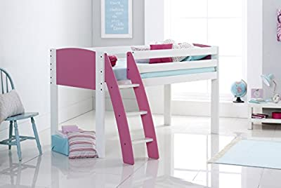 Scallywag Kids Cabin Bed 3FT Wide Shorty - White/Pink - Curved Ladder - Made In The UK.