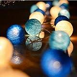 Decoración para el Hogar Bola de algodón azul Cadena de hadas de luz de hadas Blanco cálido 280 cm de largo Modelos de baterías