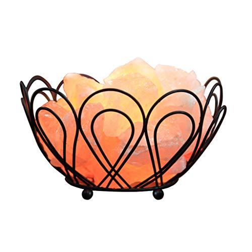 ShenZuYangShop Schreibtischlampen Salz Lampe Schmiedeeisen Mode Krone Lampe Lampe Himalayan Kristall Salz Rock Nachtlicht Schlafzimmer Schlaf Lampe (Color : Natural, Size : 17 * 17 * 10cm) - Rock-krone