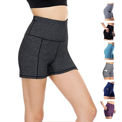 Short De Sport pour Femme Pantalon De Yoga Pantalon De Sport Skinny Taille Haute Fitness Course Jogging(Gris foncé, M)