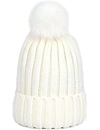 Womens Girls Winter Hat Wool Knitted Beanie with Large Pom Pom Cap SKI Snowboard Hats Bobble