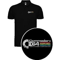 The Fan Tee Polo de Hombre Comodore Retro Gamer Logo Friki 64 Juego 2XL