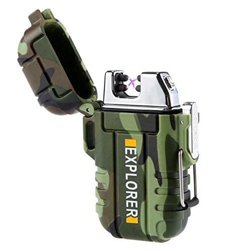 feuerzeug mit licht Qimaoo USB Elektronisches Feuerzeug Wasserdicht Zigarettenanzünder Zigarettenfeuerzeug mit kreuz Doppelt lichtbogen