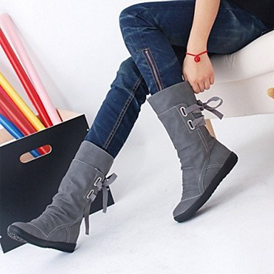 RTRY Scarpe Donna Pu Autunno Inverno Comfort Novità Moda Stivali Stivali Tacco Piatto Rotondo Mid-Calf Toe Boots Lace-Up Per Office &Amp; Carriera Vestire US7.5 / EU38 / UK5.5 / CN38