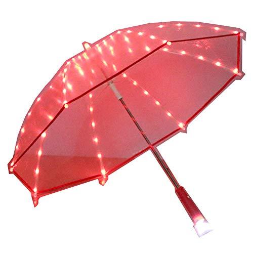 JTIH ® Licht Transparent PVC Regenschirm Led Kreatives Licht Regenschirm Taschenlampe Leuchtend Wechselnd Blinkend Lichtschwert Geschenk Transparent Regenschirm