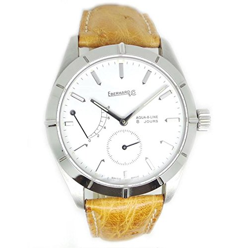 Mechanical Clock Eberhard Men 21018.1quandrante Steel White Leather Strap