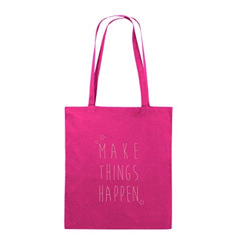 Comedy Bags - MAKE THINGS HAPPEN - Jutebeutel - lange Henkel - 38x42cm - Farbe: Schwarz / Pink Pink / Rosa