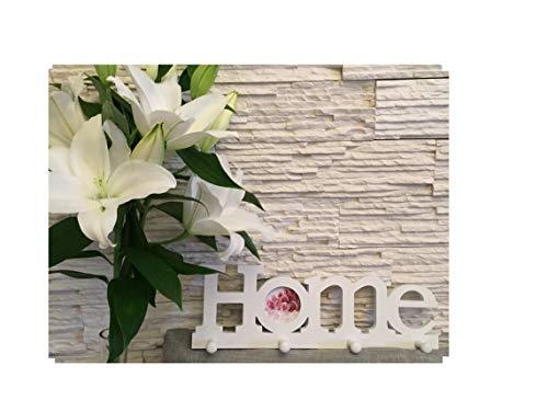 Garderobe Fotorahmen 4 Haken Wandgarderobe 1 Foto HOME 40x13 cm, das perfekte Geschenk für den Liebsten/die Liebste, zur Hochzeit weiß Kunststoff romantisch Bilderrahmen Wandbild