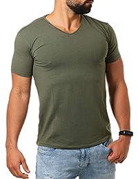 81af23fd1b09 Young Rich Herren V-Ausschnitt T-Shirt einfarbig körperbetont mit  Stretchanteilen Uni Basic V-