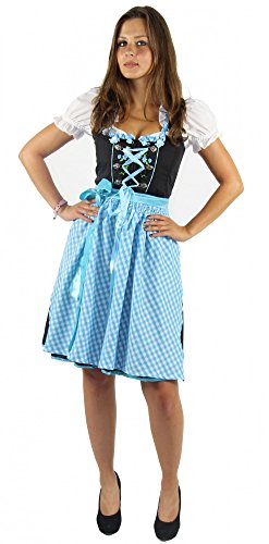 Foxxeo 40273 I Dirndl für Damen Trachten-Kleid mit Bluse und Schürze | Gr. XS, S, M, L, XL, XXL | schwarz...