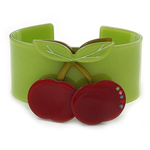 Hellgrünes Acryll-Armband aus österreichischem Kristall mit roten Kirschen–19cm L (Kirsche Armband)