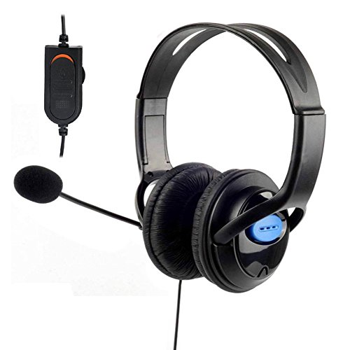 YouN Deluxe Headset Headphones with Microphone Volume Control for PS4 Controller