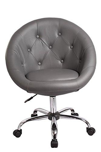 Drehstuhl Schreibtischstuhl Grau Rollhocker mit Lehne Arbeitshocker Kosmetikhocker Duhome 0535